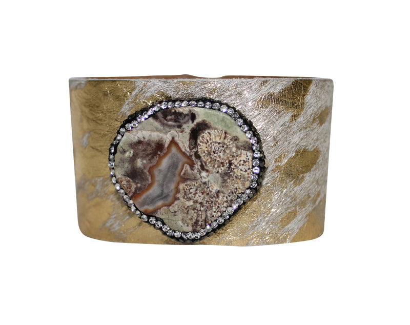 Acid Cowhide Bracelet Hair Calf Leather Cuff with Crystal Jewelry Bangle