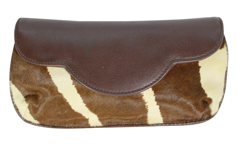 Hair calf leather clutch, Zebra hair calf leather cross body bag, leather handbag, bag brown - ivory