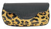 Embossed leopard leather wrist-let, Leopard print clutch, leather handbag, Bag, wrist let, embossed leather fringe bag