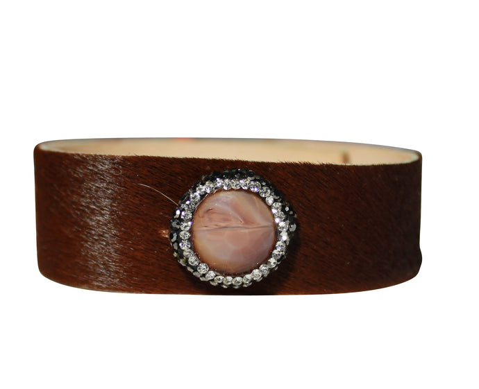 Pony Leather Bracelet with Crystal Stones