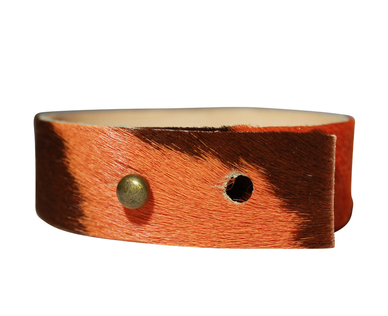 Brown UT Orange Bracelet Cuff Hair Calf Leather Crystal Bangle Jewelry
