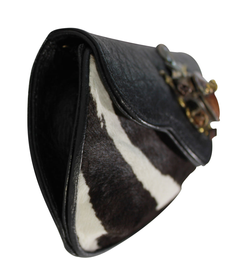 Hair calf leather clutch, Zebra calf leather cross body bag, Felipe Barbosa sacred heart locket black white leather handbag