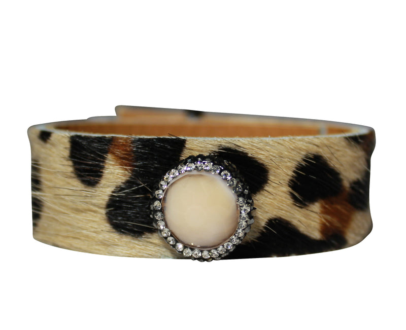 Cowhide Brown Cuff Crystal Jewelry Bangle Bracelet Leather Wrap