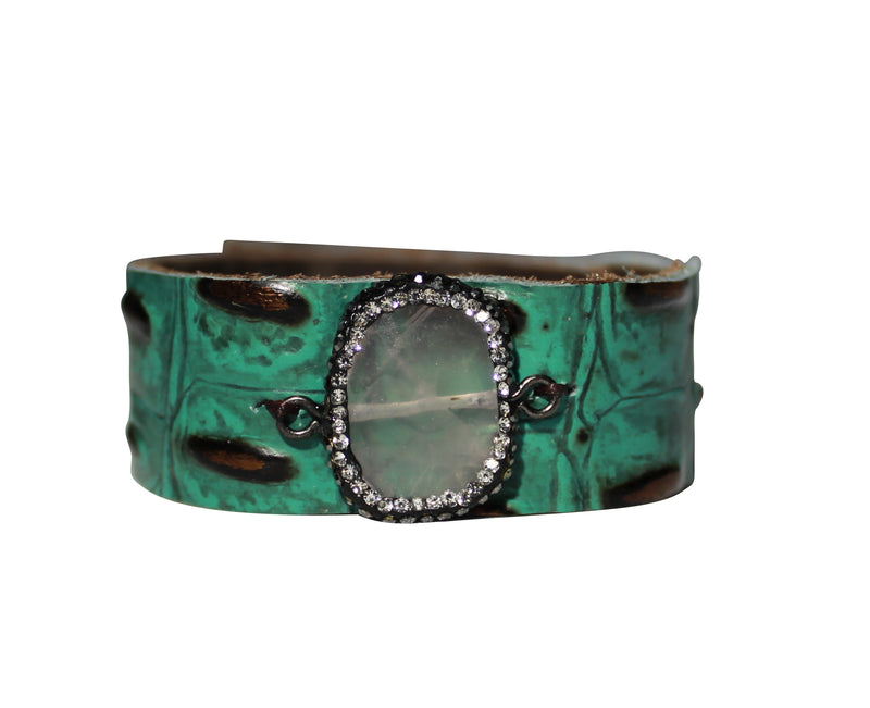 Croco Leather Turquoise Bronze Cuff, Crystal Bangle Bracelet Leather Wrap