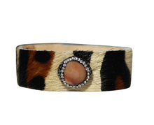 Leopard Hair Calf Leather Bracelet Animal Print Cuff Jewelry with Crystals