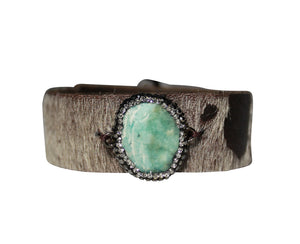 Leather Cuff Hair Calf Bracelet with Natural Turquoise Stone