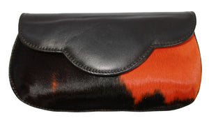 Hair Calf Leather Red and Black Clutch