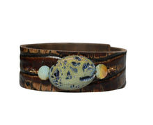 Embossed Brown Leather Bracelet with Blue Stone Druzy