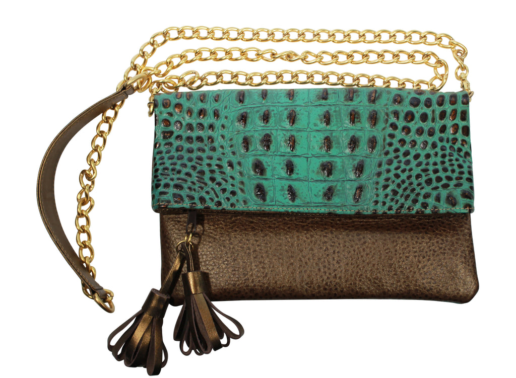 Turquoise Croc handbag, Fold over bag, leather bags, wholesale handbag, luncheon bags, embossed leather purse