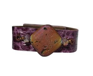 Genuine Croco Purple Bracelet  Druzy with charm