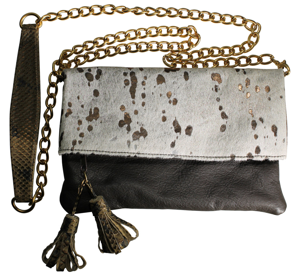 Fold over clutch, bag, acid hair calf leather handbag, embossed leather purse