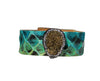 Multicolor Turquoise Leather Cuff Bracelet with Gold Druzy Stone & Crystals