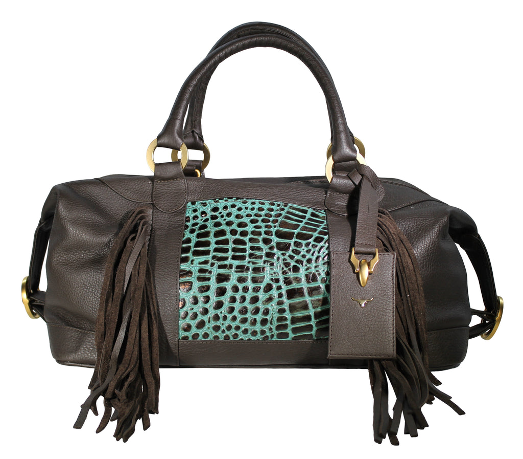 Travel Duffel Bag, embossed leather, Fringe leather handbag, hair calf leather