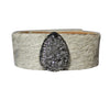 Gold Acid Hair Calf Leather Bangle Bracelet Western Hair Leather Cuff Jewelry with Druzy Crystals