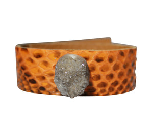 Python Cuff Orange Snake Bracelet Leather Natural Druzy Stone Jewelry Woman's Cuff Bangle