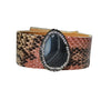 Multicolor Python Bracelet with Druzy Leather Jewelry Snake Cuff Wrap