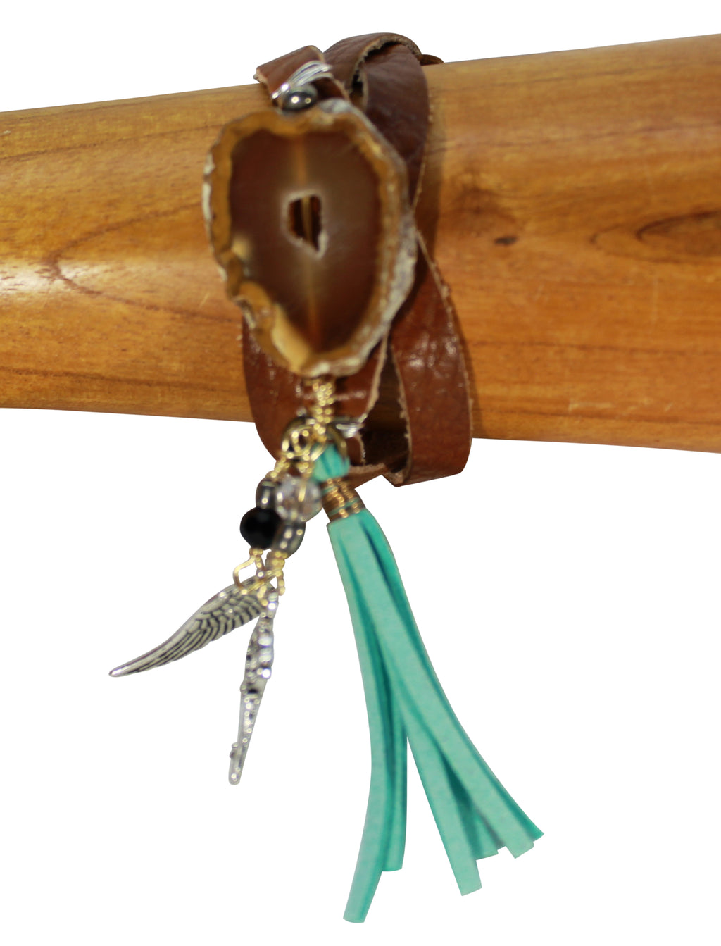 Vegetable tanned leather bracelet, natural stone, tassel on charm bracelet, leather jewelry cuff