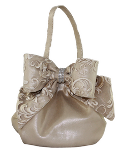Tul Ring Gold Champagne Evening Handbag