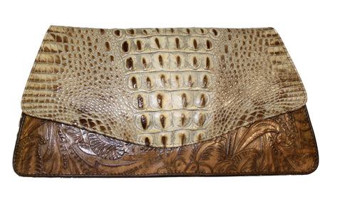 Embossed leather wrist-let,  Longhorn clutch, Acid washed leather handbag clutch, handbag, bag, hair calf leather bags, wrist-let, tooling