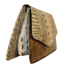 Embossed  Crocodile Leather Clutch
