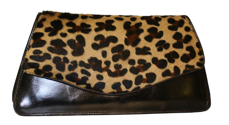 Leopard handbag, Hair calf bag, leopard print leather bags, wholesale leopard leather handbag, luncheon bags, leopard purse