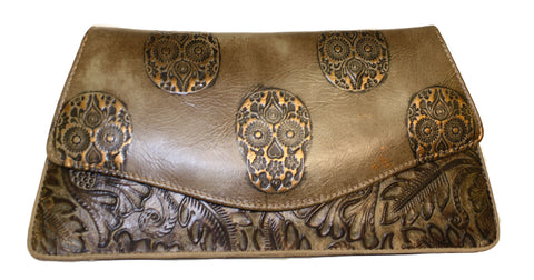 Embossed croc leather wrist-let, Croc gypsy, embossed leather, clutch, wrist-let, leather handbag, bag, fringe bag, leather clutch