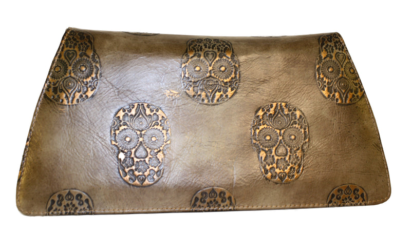 Embossed leather handbag, skull handbag, sugar skull leather bags, tool leather bag, leather handbag, luncheon bags, leather purse