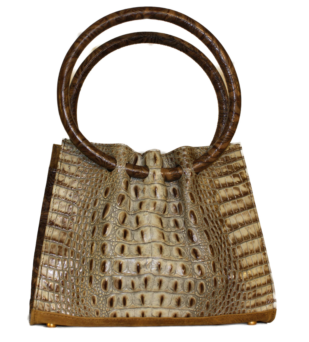 Round handle, Embossed Croc handbag round handle, genuine leather handbags, croc bags, gypsy bags, Rodeo handbags