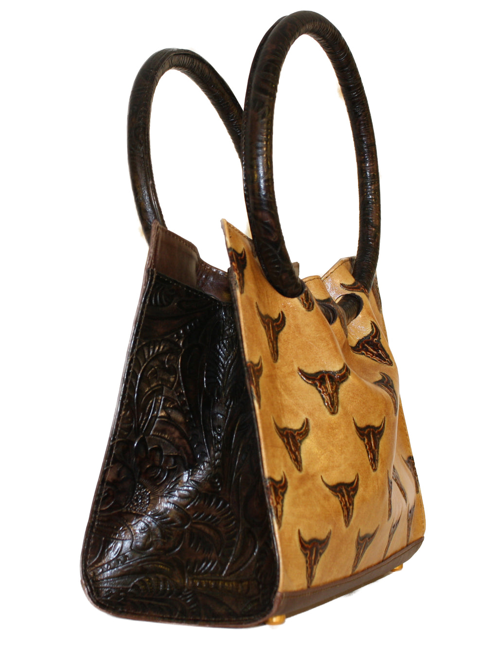 Round handle, Embossed longhorn handbag round handle, Embossed leather handbags, leather bags, western handbags, rodeo bags, longhorn bags