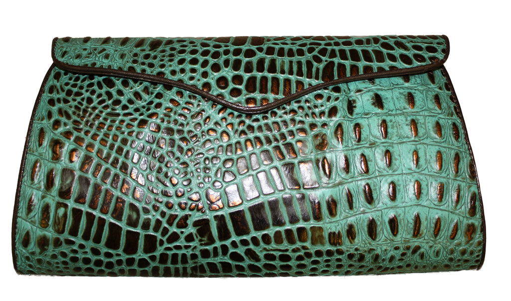 Embossed leather clutch, croc clutch, leather clutch handbag bag,