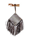 ROUND cross body fringe bag, gypsy style round bag, Laredo print, acid washed leather, embossed leather handbag copper-white