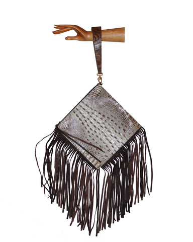 Embossed leather wrist-let, Gypsy south west leather clutch bag, gray fringe bag, brown leather handbag, bag, clutch, wrist-let