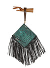 ROUND cross body fringe bag, embossed croc leather, turquoise leather handbag