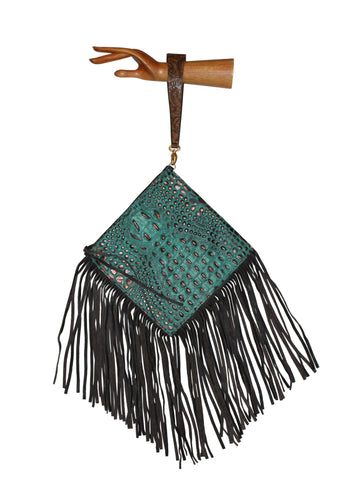 Embossed leather wrist-let, Gypsy south west leather clutch bag, turquoise fringe bag, turquoise brown leather handbag, bag, clutch, wrist-let