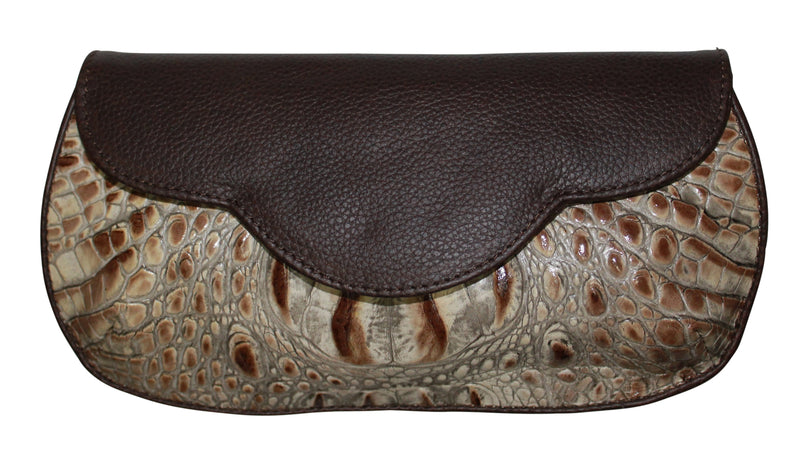 Calf leather clutch, Croc embossed leather, cross body bag, brown clutch, leather handbag, embossed croc leather bags, croc purse