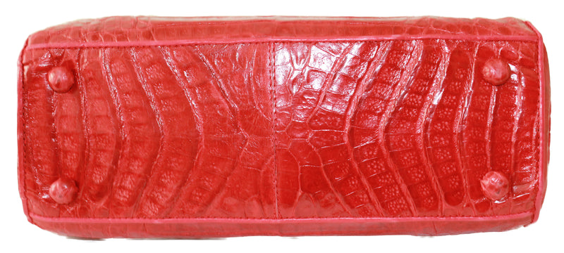 Red Crocodile handbag, genuine crocodile satchel, crocodile skin leather bag, crocodile purse, genuine crocodile, handmade bags.