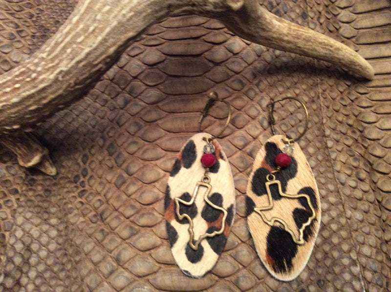 Animal Print Leather Texas Charm Hoop Earrings Leopard Hair calf Jewelry