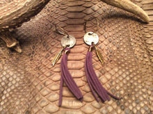 Coin Hoop Earrings with Tassel Native American Feather