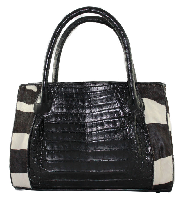 Genuine Zebra Crocodile Tote handbag