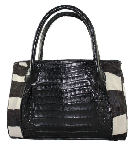 Genuine Crocodile handbag, Top-handle Purse, handbag, bag, black crocodile