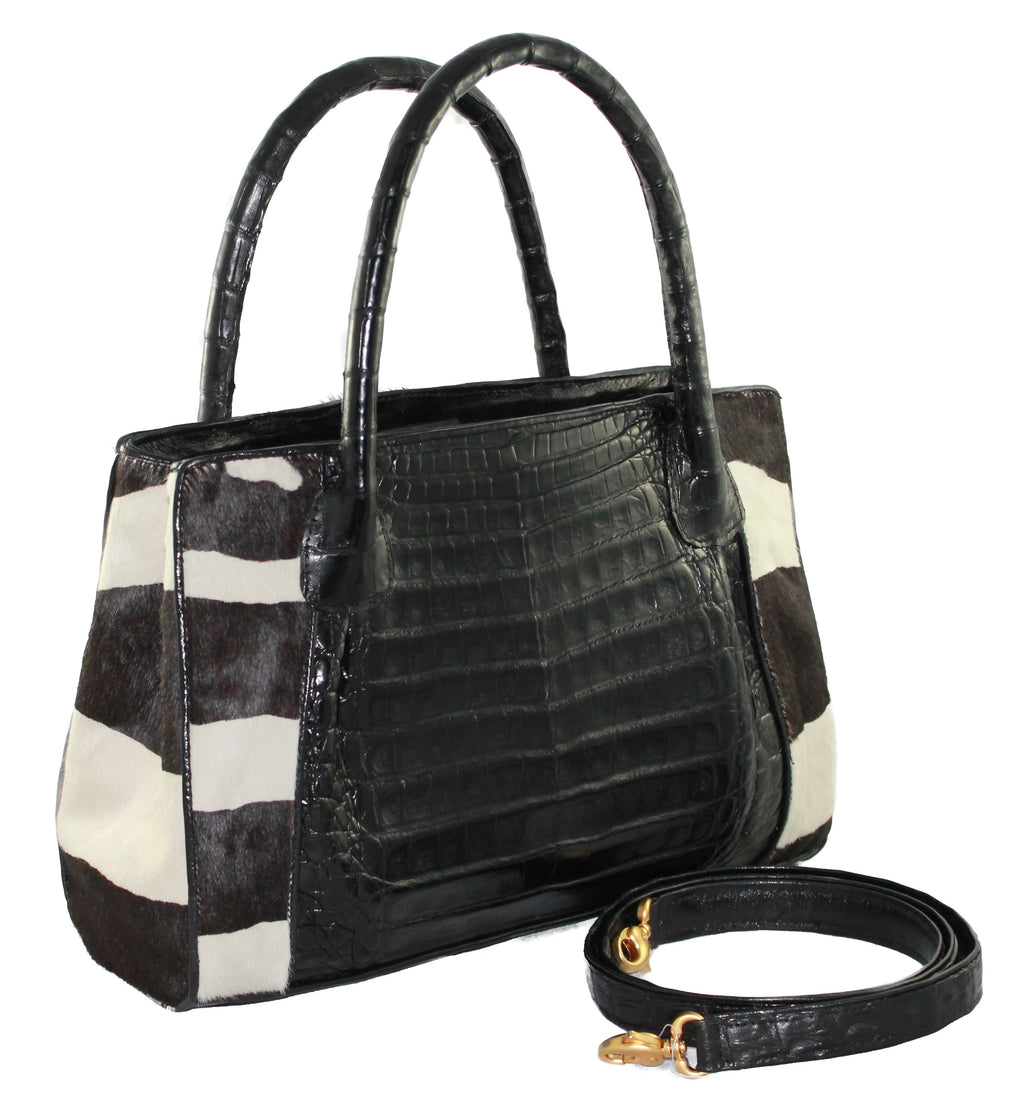 Genuine Zebra Crocodile handbag, crocodile satchel, crocodile bag, crocodile purse, genuine crocodile, handmade bags.