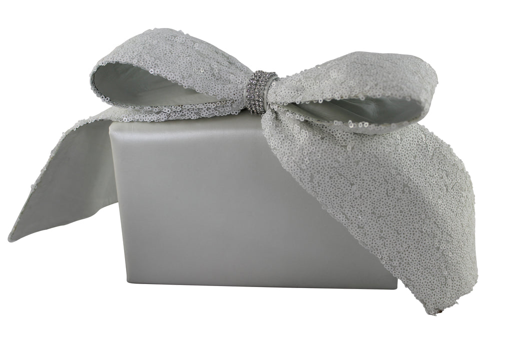 Evening Bride clutch, White bridal handbag, bow clutch, evening bag, crystal bow bag, evening handbag