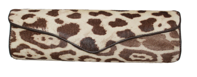 Animal Print Italian Leather Clutch