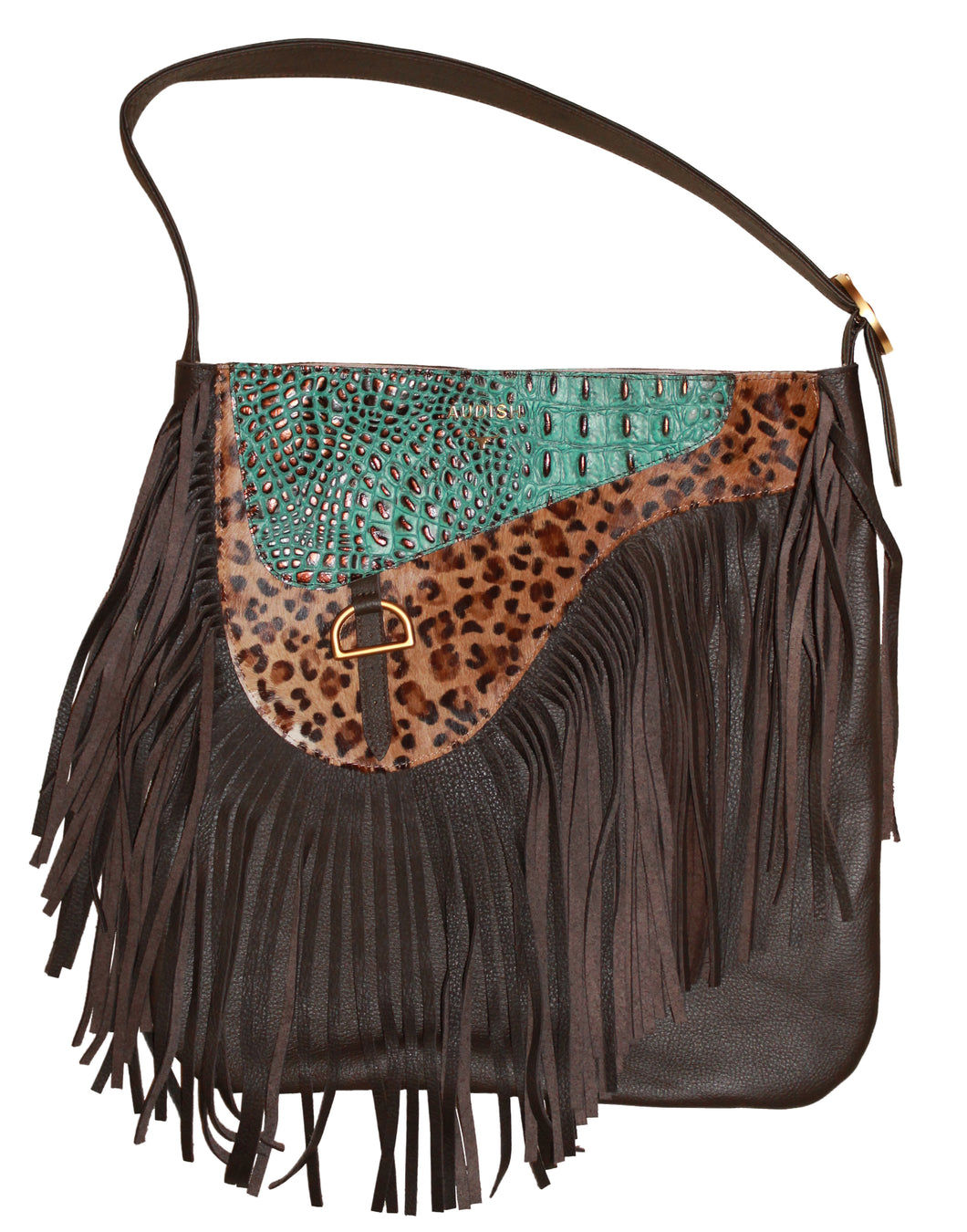 Saddle Turquoise Leopard Bag