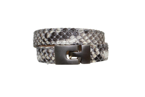 BAJ-496-2-2-18 CORTEZA leather bracelet, embossed snake leather cuff, leather jewelry Black