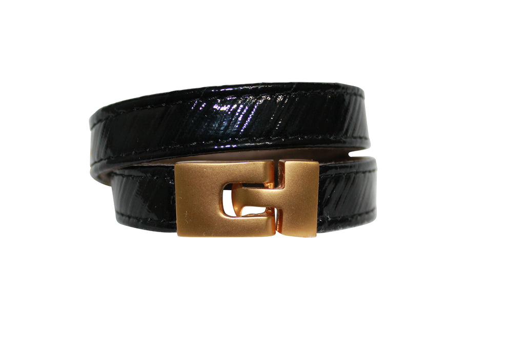 BAJ-496-2-18 CORTEZA leather bracelet, embossed snake leather cuff, leather jewelry Black