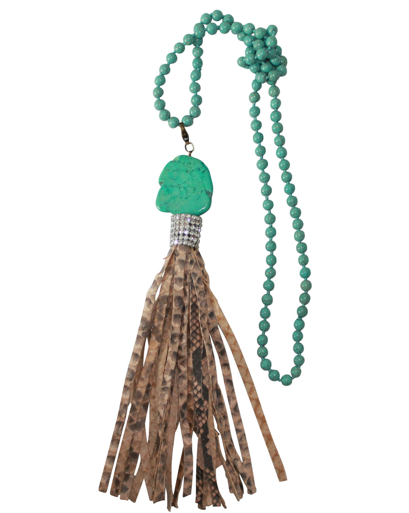 PYTHON TASSEL NECKLACE NATIVE AMERICAN TURQUOISE CRYSTAL SNAKESKIN JEWELRY
