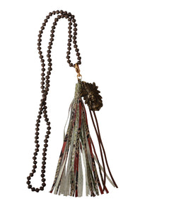 Snakeskin Leather Tassel with Antique Gold Brass Chief Indian