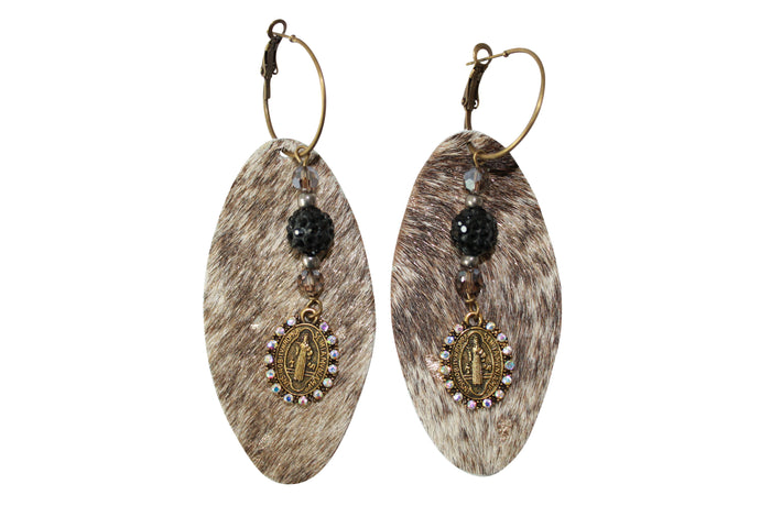 Gold Acid Hair Calf Leather Earrings Pave Black Crystal Jewelry Saint Charm