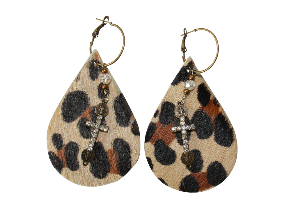 Leopard Hair Cowhide Earrings Laser Cut Leather Jewelry Animal Print
